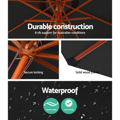 Instahut 2.7M Umbrella with Base Outdoor Pole Umbrellas Garden Stand Deck Black