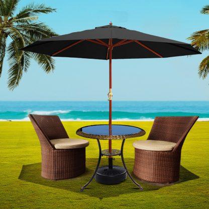 Instahut 3M Umbrella with Base Outdoor Pole Umbrellas Garden Stand Deck Black