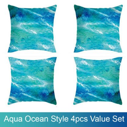 Aqua Ocean Style Cushion Covers 4pcs Pack