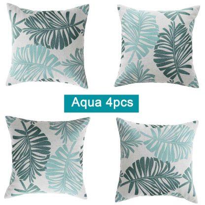 Cotton Linen Tropical Palm Cushion Covers 4pcs Pack