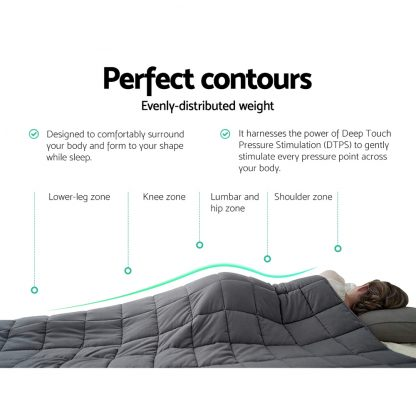 Weighted Blanket Kids 2.3KG Heavy Gravity Blankets Microfibre Cover Comfort Calming Deep Relax Better Sleep Grey
