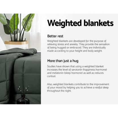Giselle Bedding 2.3kg Cotton Weighted Blanket Heavy Gravity Sleep Black