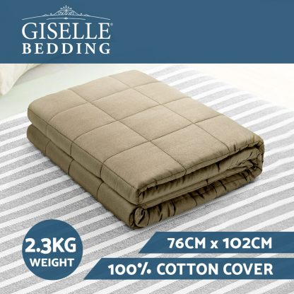 Giselle Bedding 2.3KG Cotton Weighted Blanket Heavy Gravity Calm Size Brown