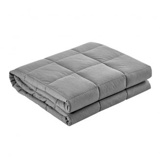 Giselle Bedding 2.3KG Cotton Weighted Gravity Blanket Snuggle Deep Sleep Relax Light Grey