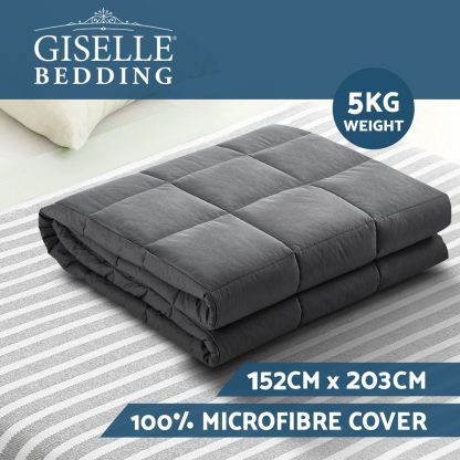 Weighted Blanket Adult 5KG Heavy Gravity Blankets Microfibre Cover Calming Relax Anxiety Relief Grey