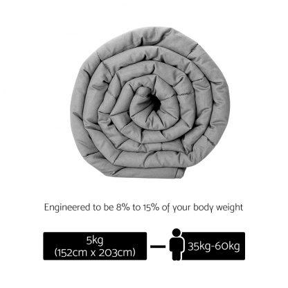 Weighted Blanket Adult 5KG Heavy Gravity Blankets Microfibre Duvet Cover Deep Relax Better Sleep Light Grey