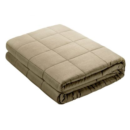 Giselle Bedding 7KG Cotton Gravity Weighted Blanket Deep Relax Sleep Adult Brown