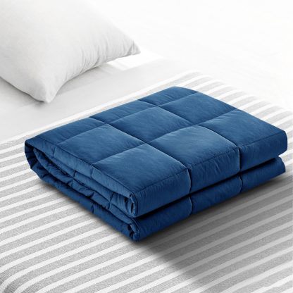 Weighted Blanket Adult 7KG Heavy Gravity Blankets Microfibre Cover Calming Relax Anxiety Relief Navy Blue