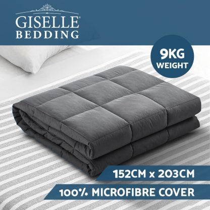 Weighted Blanket Adult 9KG Heavy Gravity Blankets Microfibre Cover Calming Relax Anxiety Relief Grey