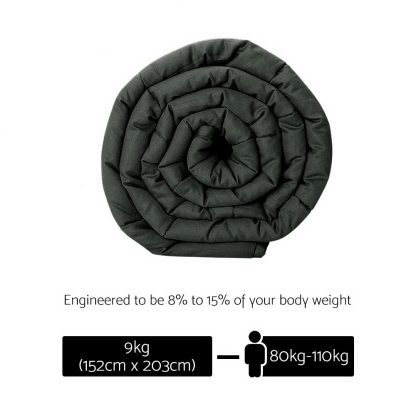 Giselle Bedding 9KG Cotton Heavy Gravity Weighted Blanket Deep Relax Adult Black