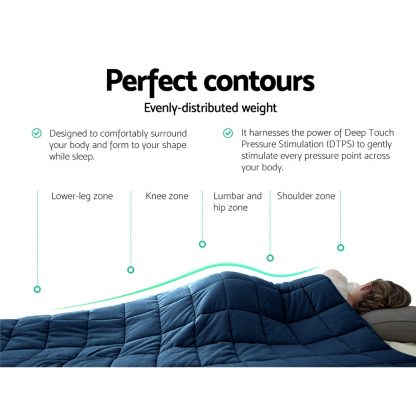 Giselle Bedding 9KG Microfibre Weighted Blanket Heavy Gravity Deep Relax Adult Navy