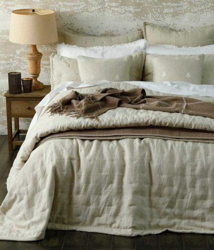 Laundered Linen Natural Queen Bedspread Set by MM Linen