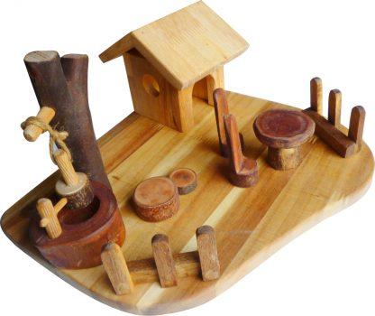 Wooden Doll Play Scene