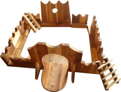 Wooden jumbo castle building set