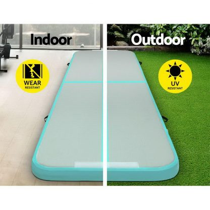 Everfit GoFun 3X1M Inflatable Air Track Mat with Pump Tumbling Gymnastics Green