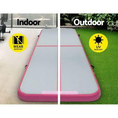 Everfit GoFun 3X1M Inflatable Air Track Mat with Pump Tumbling Gymnastics Pink