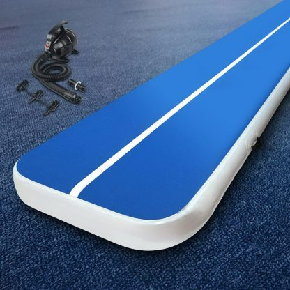 Everfit 4X1M Inflatable Air Track Mat 20CM Thick with Pump Tumbling Gymnastics Blue