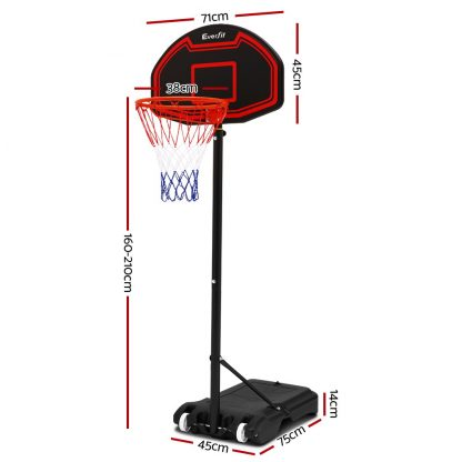 Everfit 2.1M Adjustable Portable Basketball Stand Hoop System Rim Black