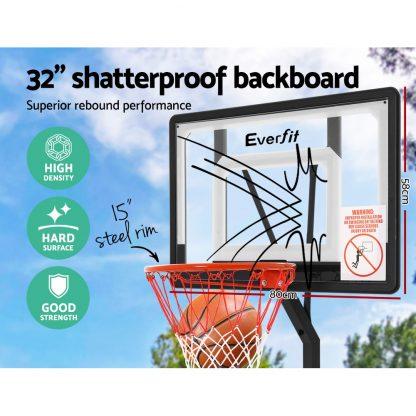 Everfit Adjustable Portable Basketball Stand Hoop System Rim