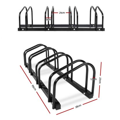 Portable Bike 4 Parking Rack Bicycle Instant Storage Stand - Black