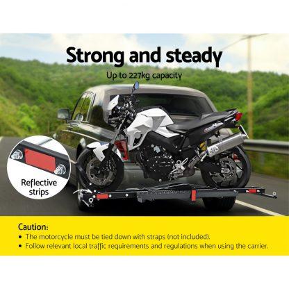 "Giantz Motorcycle Carrier 2 Arms Rack Ramp Motorbike Dirt Bike 2""Hitch Towbar"