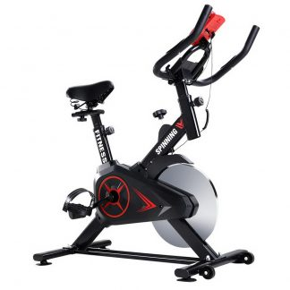 Spin Exercise Bike Flywheel Fitness Commercial Home Workout Gym Phone Holder Black