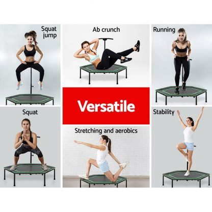 """Everfit 50"""" Mini Trampoline Rebounder Handrail Fitness Exercise Jogger Cardio Workout"""