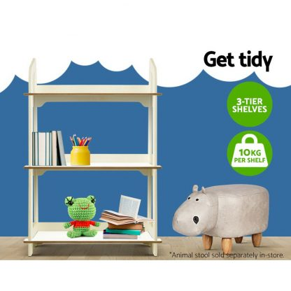 Keezi Kids Bookcase Childrens Bookshelf Storage Shelves Ladder Shelf Display WH