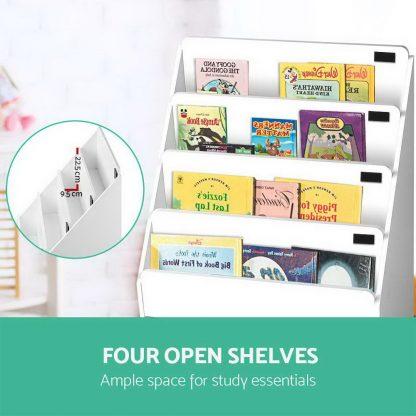 Keezi Kids Bookcase Childrens Bookshelf Organiser Storage Shelf Wooden White