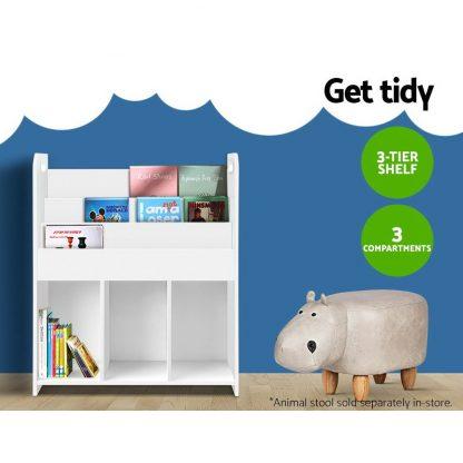 Keezi Kids Bookcase Childrens Bookshelf Display Cabinet Toys Storage Organizer