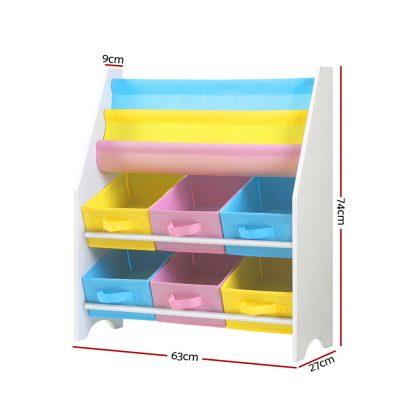 Keezi Kids Bookcase Childrens Bookshelf Toy Storage Organizer 2 Tiers Shelves