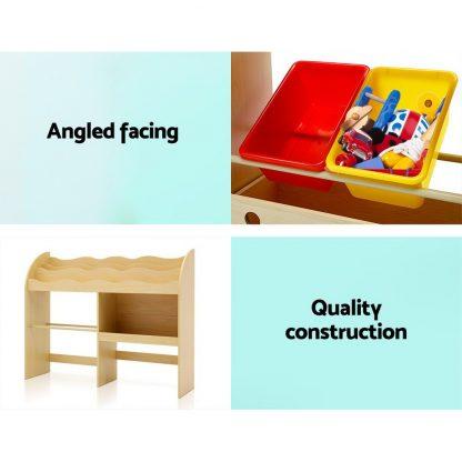 Keezi Kids Bookcase Childrens Bookshelf Toy Storage Box Organizer Display Rack Drawers with Rollers
