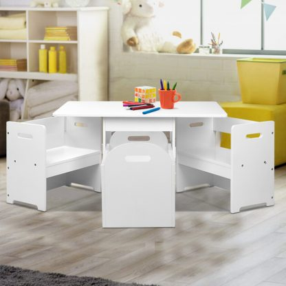 Keezi 4PCS Kids Table and Chairs Set Storage Box Toys Play Desk Wooden Children