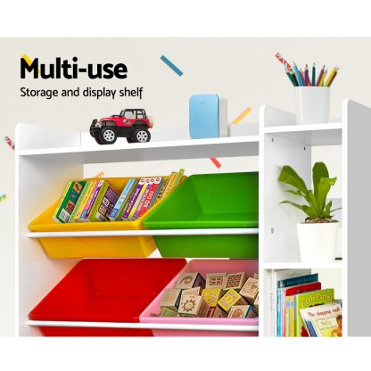 Keezi 8 Bins Kids Toy Box Storage Organiser Display Bookshelf Drawer Cabinet
