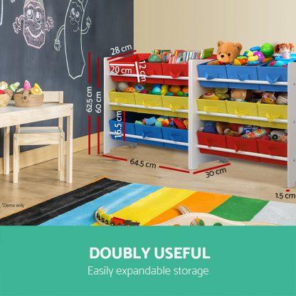 Keezi 3-Tier 9 Bins Kids Toy Box Organiser Storage Rack Cabinet Wooden Bookcase