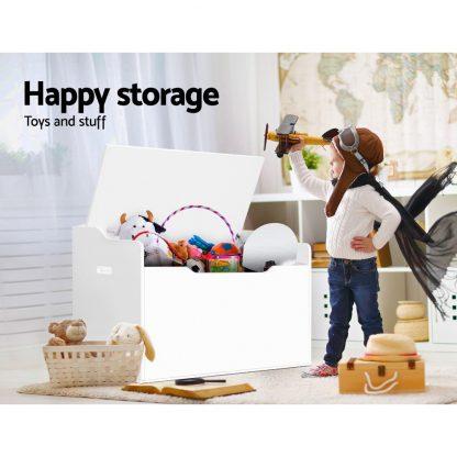 Keezi Kids Toy Box Storage Cabinet Chest Blanket Children Clothes Organiser White