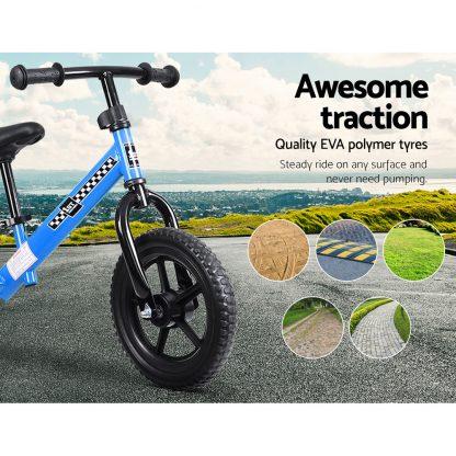 "Kids Balance Bike Ride On Toys Puch Bicycle Wheels Toddler Baby 12"" Bikes Blue"