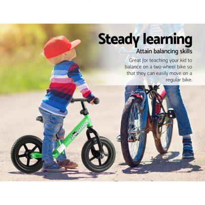 "Kids Balance Bike Ride On Toys Puch Bicycle Wheels Toddler Baby 12"" Bikes Green"