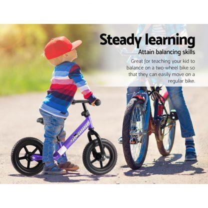 "Kids Balance Bike Ride On Toys Puch Bicycle Wheels Toddler Baby 12"" Bikes Purple"