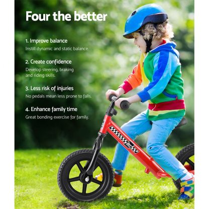 """Kids Balance Bike Ride On Toys Puch Bicycle Wheels Toddler Baby 12"""" Bikes Red"""