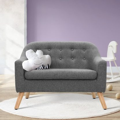 Keezi Kids Sofa Armchair Lounge Chair Chairs Children Couch Double Fabric Grey