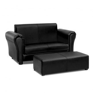 Keezi Kids Sofa Armchair Footstool Set Children Lounge Chair Couch Double Black