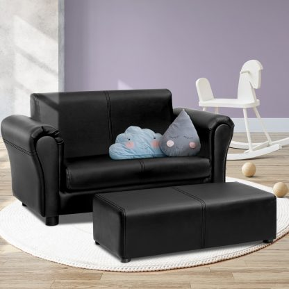 Keezi Kids Sofa Armchair Footstool Set Children Lounge Chair Couch Double Black