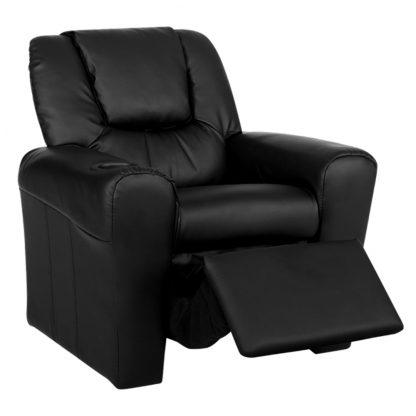 Keezi Luxury Kids Recliner Sofa Children Lounge Chair PU Couch Armchair Black