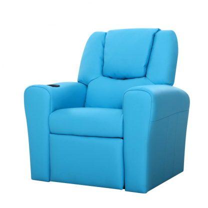 Keezi Luxury Kids Recliner Sofa Children Lounge Chair PU Couch Armchair Blue