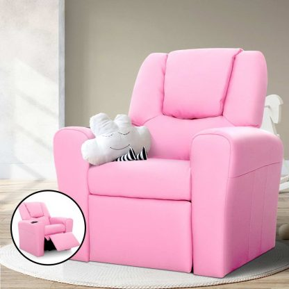 Keezi Luxury Kids Recliner Sofa Children Lounge Chair Couch PU Armchair PINK