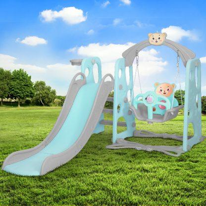 Keezi Kids Slide Swing Basketball Hoop Activity Center Toddlers Play Set Green
