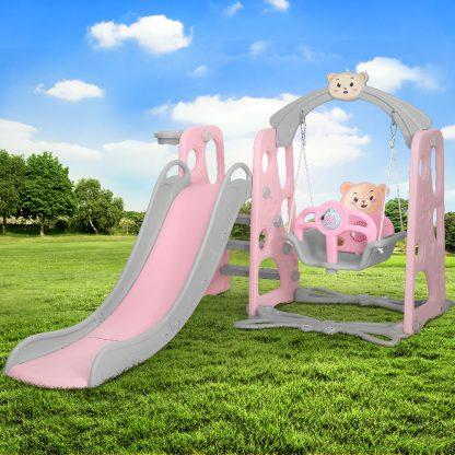 Keezi Kids Slide Swing Basketball Hoop Activity Center Toddlers Play Set Pink