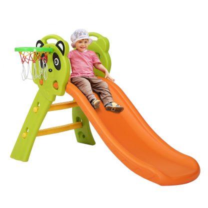 Keezi Kids Slide Basketball Hoop Activity Center Outdoor Toddler Play Set Orange