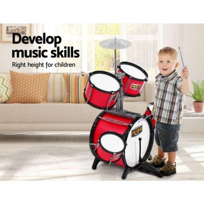 Keezi Kids 7 Drum Set Junior Drums Kit Musical Play Toys Childrens Mini Big Band